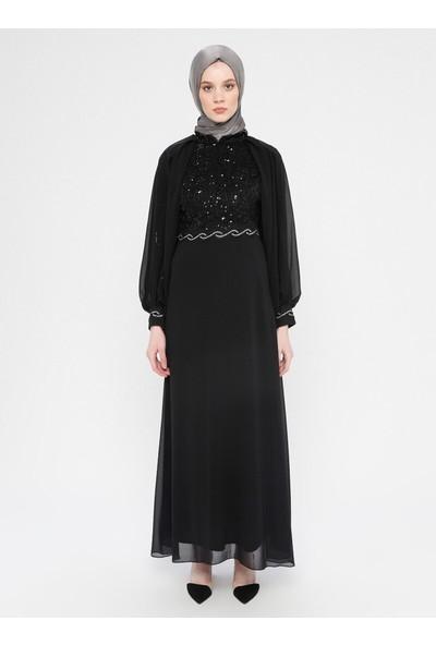 Meksila Şifon Detaylı Abiye Elbise Siyah