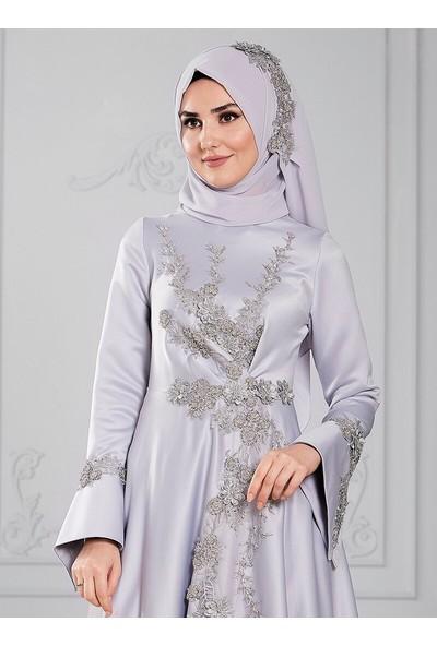 Somfashion Eslim Abiye Elbise Gri