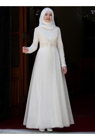 Piennar Dilşah Abiye Elbise Krem