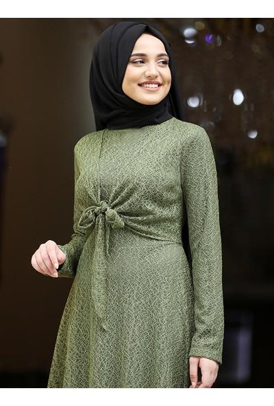 Piennar Dilşah Abiye Elbise Yağ Yeşili