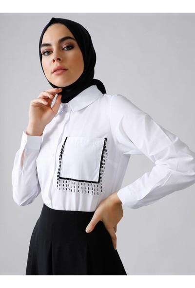 Refka Doğal Kumaşlı Cebi Boncuk Detaylı Gömlek Beyaz