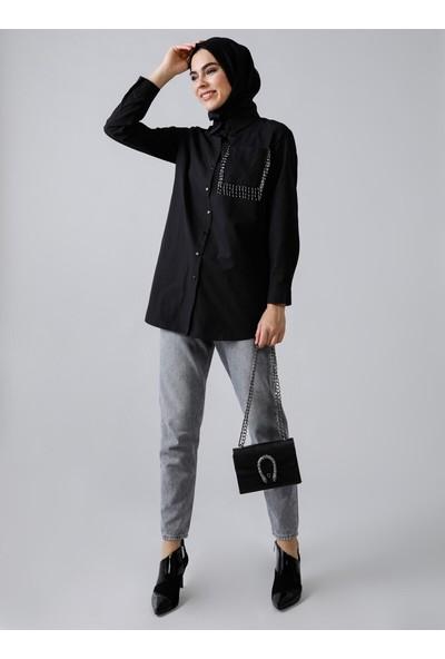 Refka Doğal Kumaşlı Cebi Boncuk Detaylı Gömlek Siyah