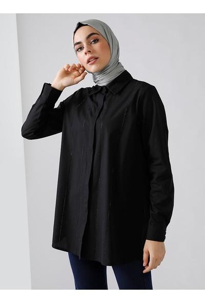 Refka Doğal Kumaşlı Taş Baskılı Gömlek Siyah