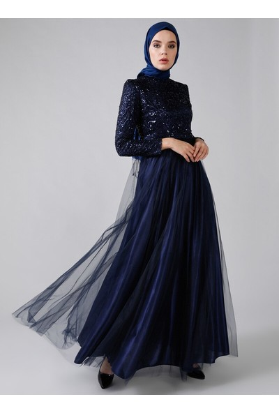 Refka Payetli Abiye Elbise Lacivert