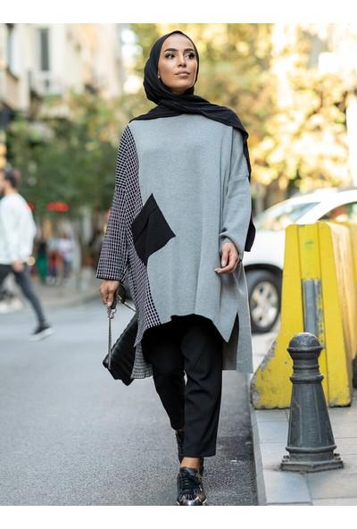 Gizem Kış Kare Desenli Tunik Gri