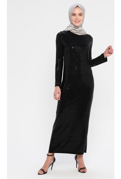 Selly Payetli Abiye Elbise Siyah-