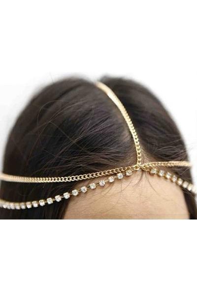 VipBT Box Taşlı Saç Bandı Kafa Zinciri Altın Sarısı