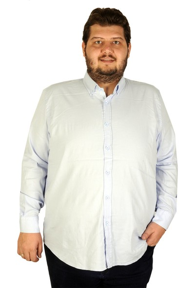 Mode XL Büyük Beden Erkek Gömlek Uzun Kol Cepsiz 19305 Mavi