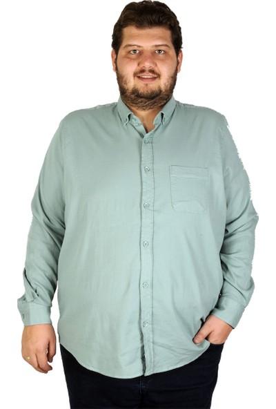 Mode XL Büyük Beden Erkek Gömlek Uzun Kol Cepli Klasik 19304 Petrol Yeşili