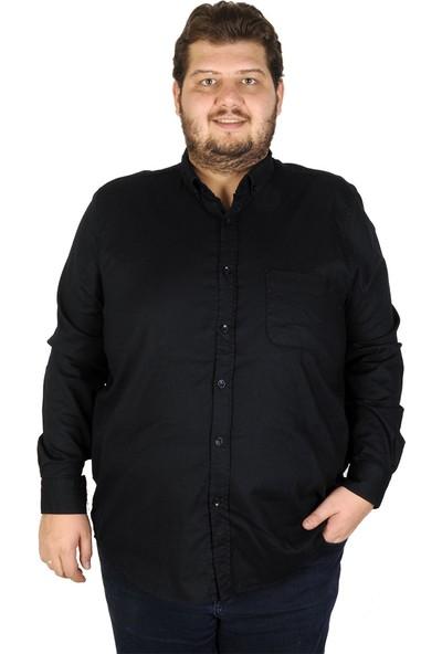 Mode XL Büyük Beden Erkek Gömlek Uzun Kol Cepli Klasik 19304 Lacivert