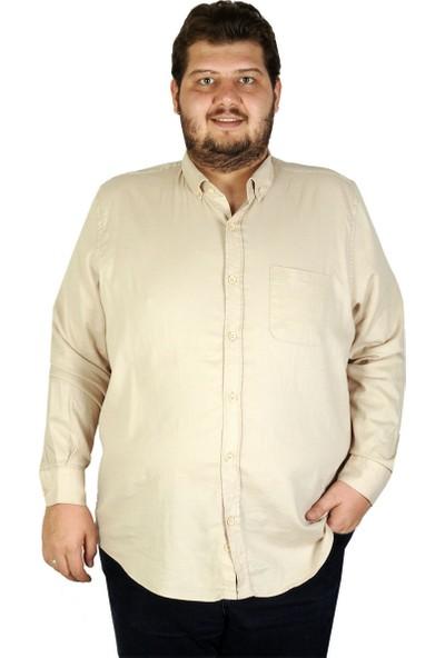 Mode XL Büyük Beden Erkek Gömlek Uzun Kol Cepli Klasik 19304 Bej
