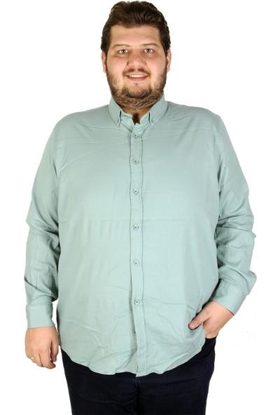 Mode XL Büyük Beden Erkek Gömlek Uzun Kol Cepsiz 19305 Petrol Yeşili