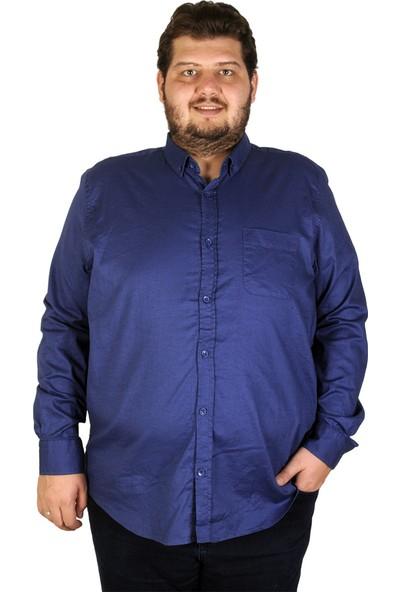 Mode XL Büyük Beden Erkek Gömlek Uzun Kol Cepli Klasik 19304 Indigo
