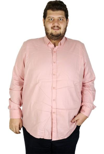 Mode XL Büyük Beden Erkek Gömlek Uzun Kol Cepsiz 19305 Gül Rengi