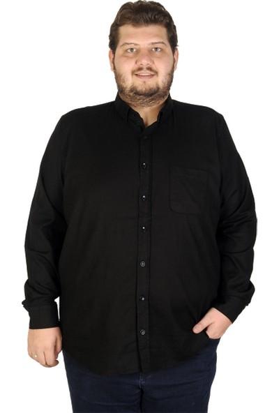 Mode XL Büyük Beden Erkek Gömlek Uzun Kol Cepli Klasik 19304 Siyah