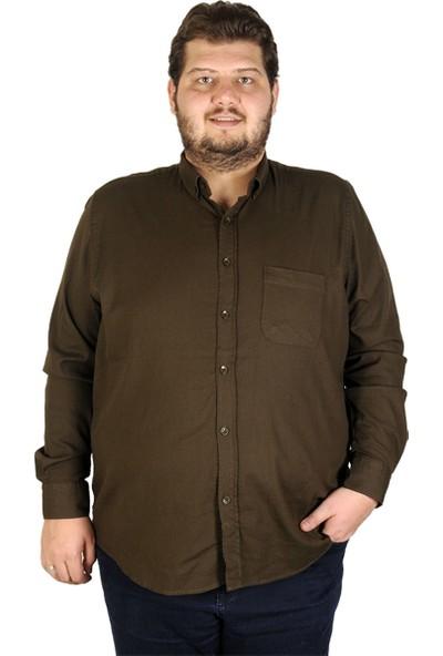 Mode XL Büyük Beden Erkek Gömlek Uzun Kol Cepli Klasik 19304 Haki