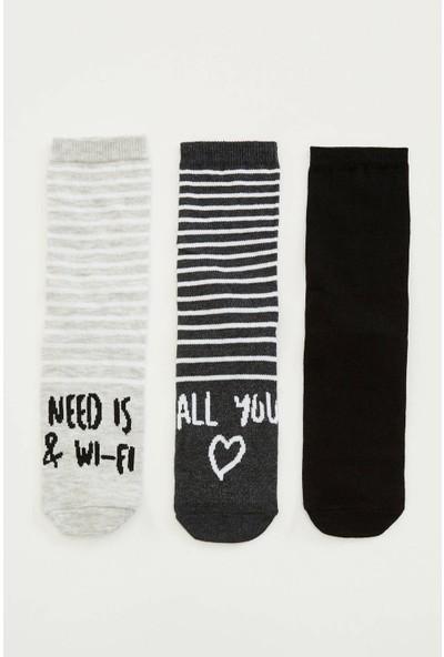 Defacto Kadın 3'lü Baskılı Çorap