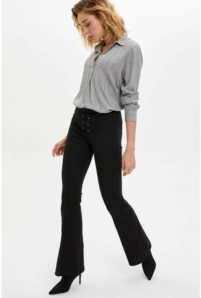 Defacto Kadın Uzun Kollu Dokuma Bluz