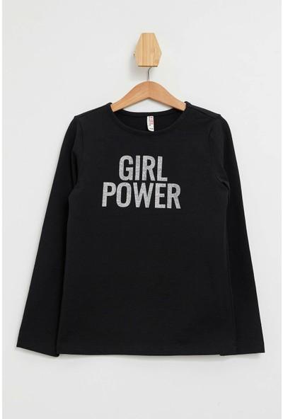Defacto Kız Çocuk Yazı Baskılı Uzun Kollu Sweatshirt