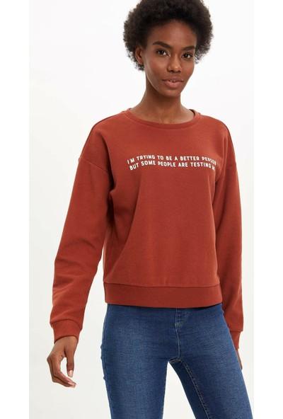Defacto Kadın Yazı Baskılı Sweatshirt