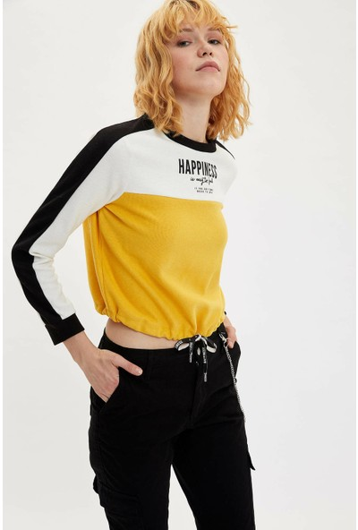 Defacto Kadın Renk Bloklu Bağcık Detaylı Sweatshirt