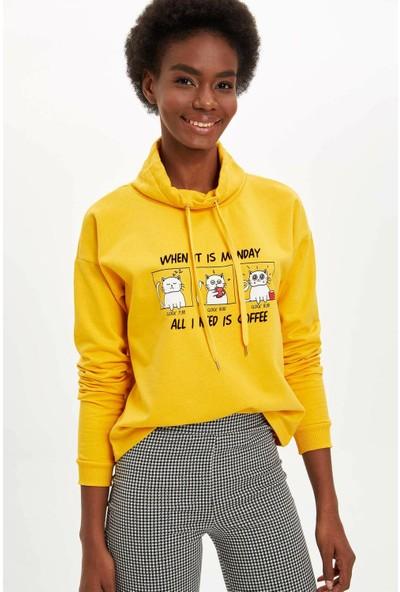DeFacto Kedi Baskılı Sweatshirt M4014AZ19WN