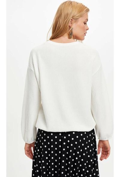 Defacto Kadın Uzun Kollu Regular Fit Örme Sweatshirt