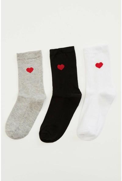 Defacto Kadın 3'lü Kalpli Uzun Çorap
