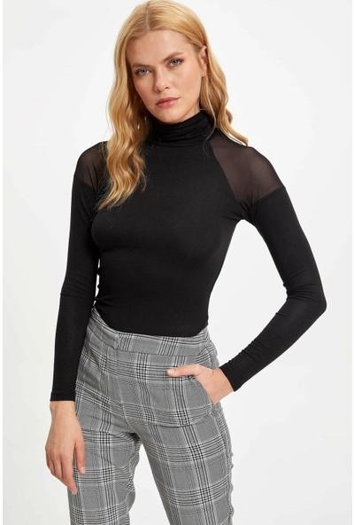 Defacto Kadın Boğazlı Uzun Kollu Slim Fit Sweatshirt