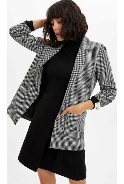 Defacto Kadın Ekose Blazer Ceket