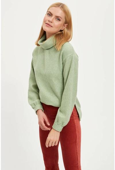 Defacto Kadın Balıkçı Yaka Örme Sweatshirt
