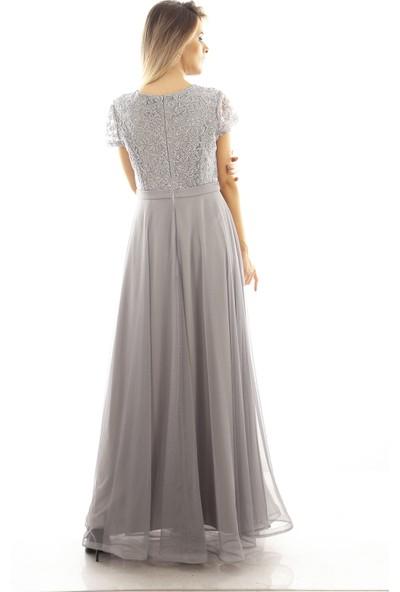 Arda New Line Kadın Gri Abiye Elbise 6502194-11.06