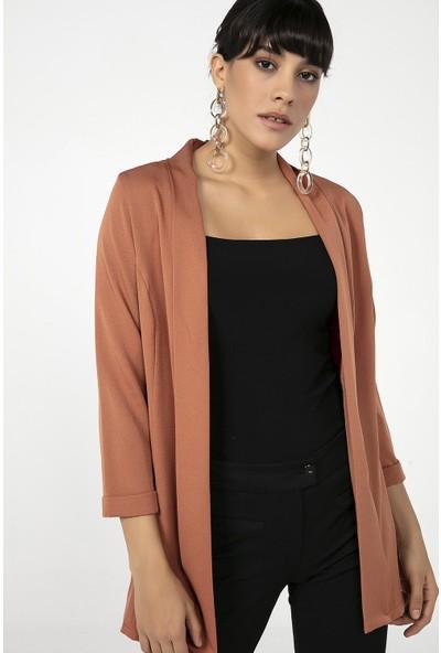 Liplipo Şal Yaka Kol Katlamalı Likra Kadın Ceket