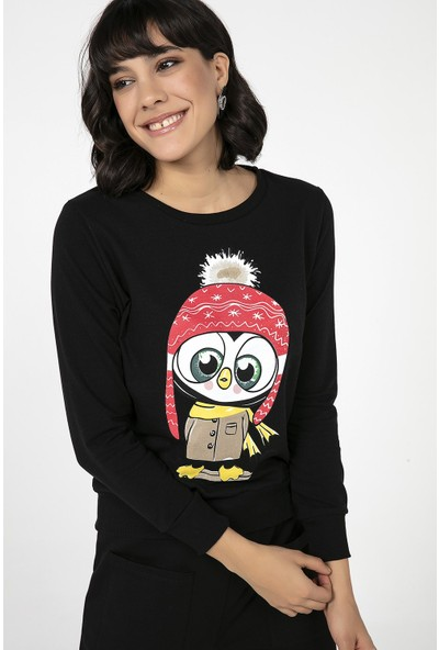 Liplipo Kar Başlıklı Kuş Baskılı Kısa İki İplik Kadın Sweatshirt
