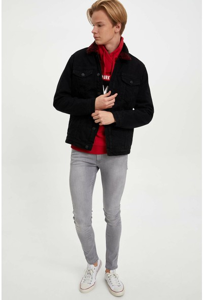 Defacto Erkek İçi Kürklü Jean Ceket