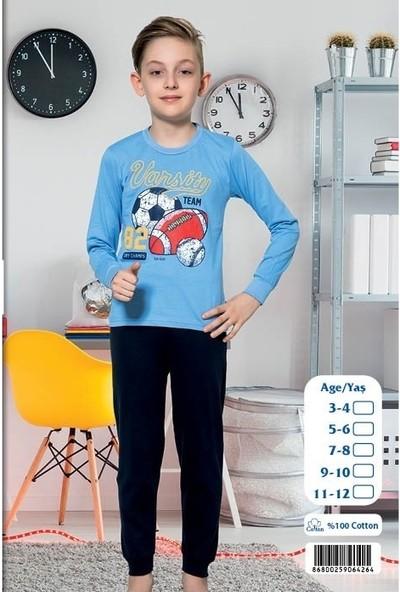 Elit %100 Pamuk Erkek Çocuk Interlok Kalın Kumaş Eşofman Pijama Takımı K4264
