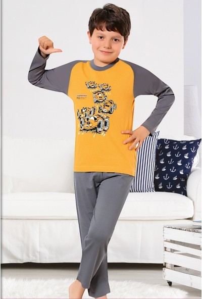 Elit %100 Pamuk Erkek Çocuk Mevsimlik Eşofman Pijama Takımı K4100