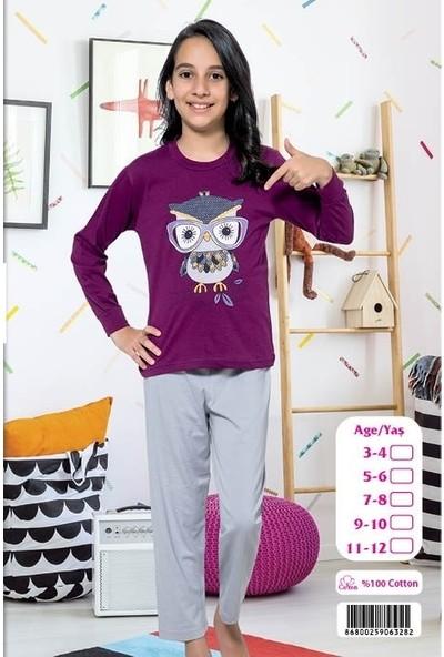 Elit %100 Pamuk Kız Çocuk Mevsimlik Eşofman Pijama Takımı K3282