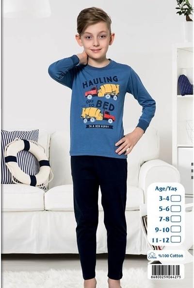 Elit %100 Pamuk Erkek Çocuk Mevsimlik Eşofman Pijama Takımı K4275