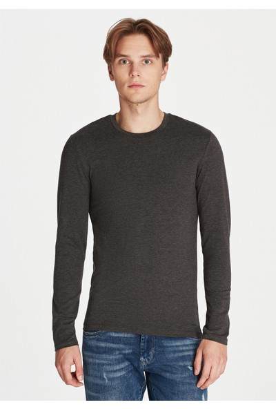 Mavi Erkek Uzun Kollu Gri Basic Tişört 062477-27310