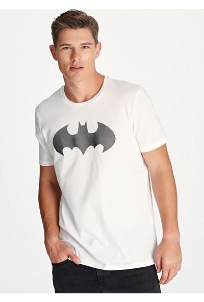 Mavi Erkek Batman Baskılı Beyaz Tişört 065221-620