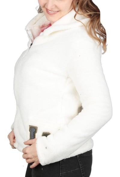 Cazador Kapüşonlu Peluş Hırka Kadın Hırka Caz 5358