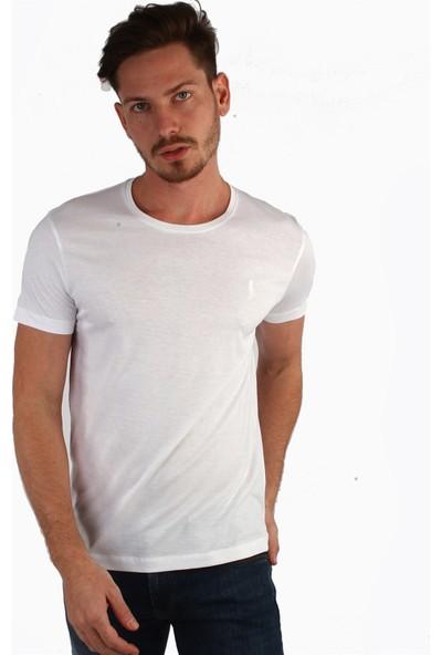Dufy Beyaz Düz Erkek T-Shirt