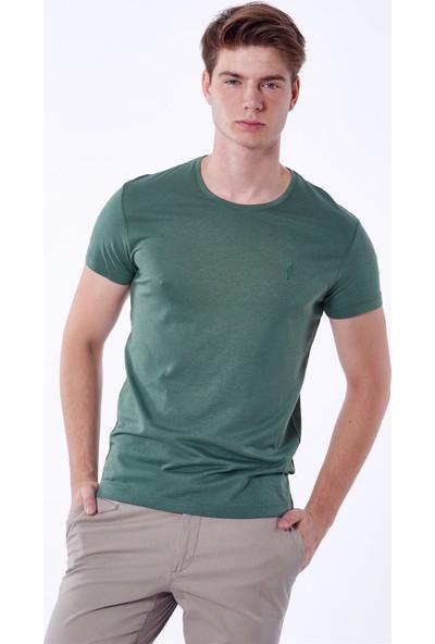 Dufy Yeşil Düz Erkek T-Shirt