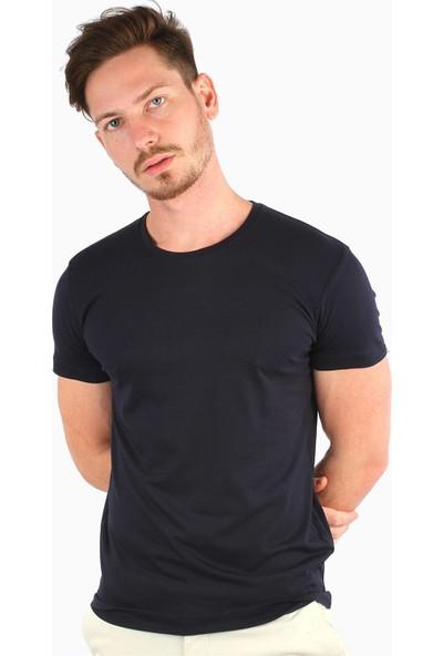 Dufy Lacivert Düz Erkek T-Shirt
