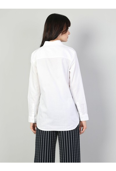 Colins Regular Fit Shirt Neck Kadın Beyaz Uzun Kol Gömlek
