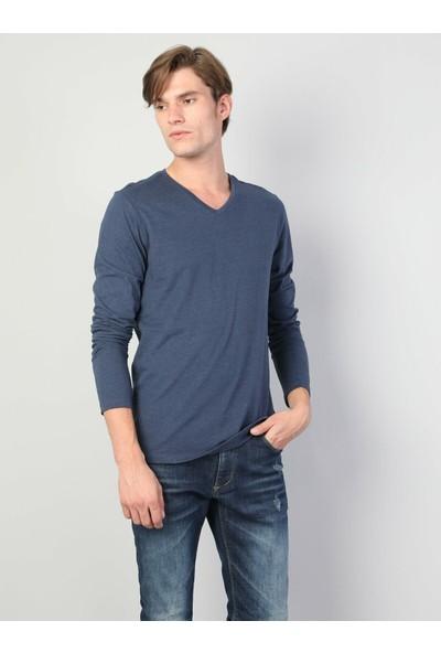 Colin's Normal Kesim V Yaka Mavi Erkek Uzun Kol T-Shirt