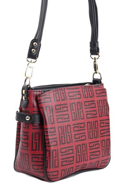 Silver & Polo Kadın Moda Çanta 884-30885 Çapraz Kadın Çantası M11 Kırmızı-Mat Siyah