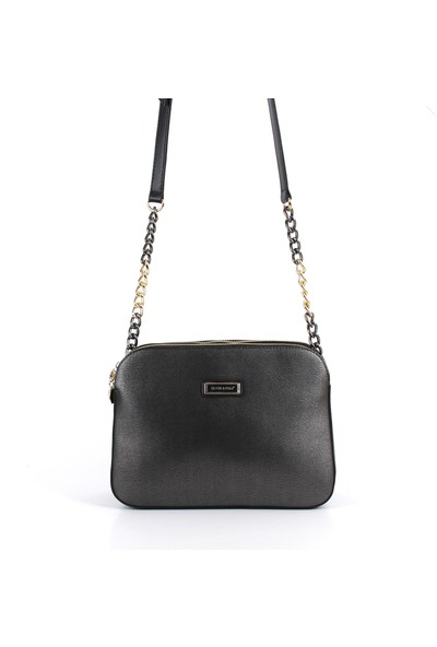 Silver & Polo Kadın Moda Çanta 915-32104 Çapraz Kadın Çantası M105 Platin-Nix Siyah