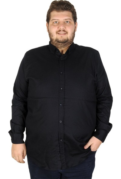 Mode XL Büyük Beden Erkek Gömlek Uzun Kol Cepsiz 19305 Siyah